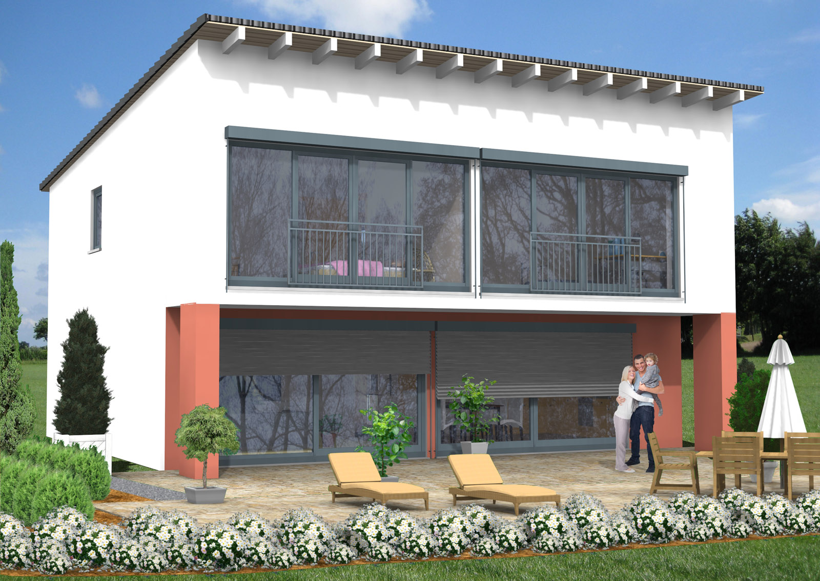 bauberatung baubetreuung baufinanzierung bauplanung pultdachhaus 162 m. Black Bedroom Furniture Sets. Home Design Ideas
